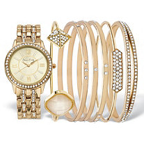Crystal Fashion Watch and Bangle Bracelet 7-Piece Set in Cream Tone with Gold Face 7.5""
