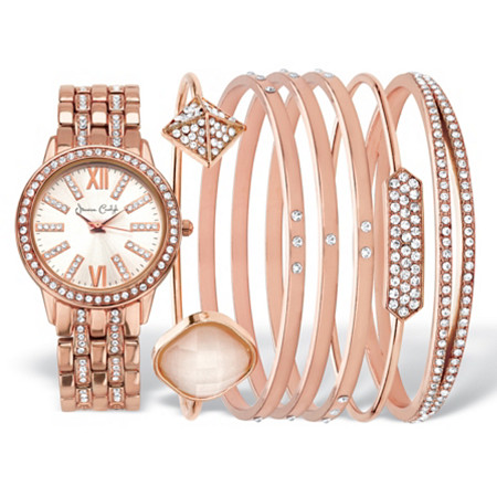 "Crystal Fashion Watch and Bangle Bracelet 7-Piece Set in Rose Gold Tone with Rose Dial 7.5""-8.5"" at PalmBeach Jewelry"