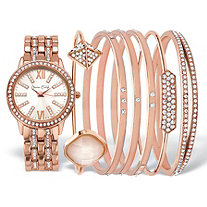 "Crystal Fashion Watch and Bangle Bracelet 7-Piece Set in Rose Gold Tone with Rose Dial 7.5""-8.5"""