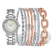 "Crystal Two-Tone Fashion Watch and Bangle Bracelet 8-Piece Set in Rose Gold Tone and Silvertone with Mother-of-Pearl Dial 7.5""-8.5"""
