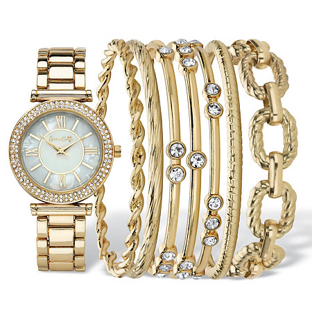 Crystal Fashion Watch and Bangle Bracelet 8-Piece Set in Gold Tone with Mother-Of-Pearl Dial 7.5
