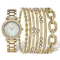 "Crystal Fashion Watch and Bangle Bracelet 8-Piece Set in Gold Tone with Mother-Of-Pearl Dial 7.5""-8.5"""