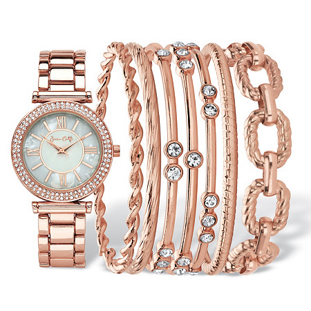 "Crystal Fashion Watch and Bangle Bracelet 8-Piece Set in Rose Gold Tone with Mother-Of-Pearl Dial 7.5""-8.5"" at PalmBeach Jewelry"