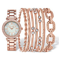 "Crystal Fashion Watch and Bangle Bracelet 8-Piece Set in Rose Gold Tone with Mother-Of-Pearl Dial 7.5""-8.5"""