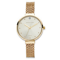 SETA JEWELRY Adrienne Vittadini Diamond Accent Fashion Watch in Gold Tone with Champagne Dial 7.5