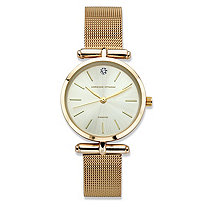 Adrienne Vittadini Diamond Accent Fashion Watch with Champagne Face and Mesh Band in Gold Tone 7.5""