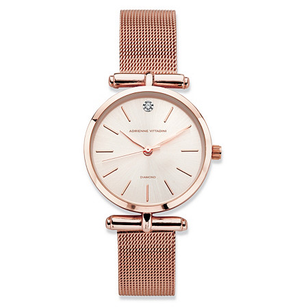 "Adrienne Vittadini Diamond Accent Fashion Watch with Champagne Face and Mesh Band in Rose Gold Tone 7.5"" at PalmBeach Jewelry"