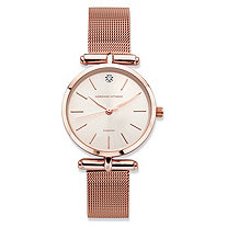 Adrienne Vittadini Diamond Accent Fashion Watch with Champagne Face and Mesh Band in Rose Gold Tone 7.5""