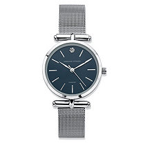 Adrienne Vittadini Diamond Accent Fashion Watch with Blue Face and Mesh Band in Silvertone 7.5