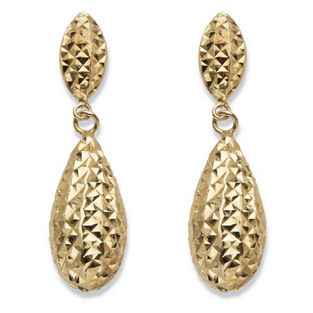 Hammered Puffy Teardrop Earrings in Hollow 14k Yellow Gold 7/8