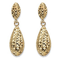 Hammered Puffy Teardrop Earrings in Hollow 14k Yellow Gold 7/8""