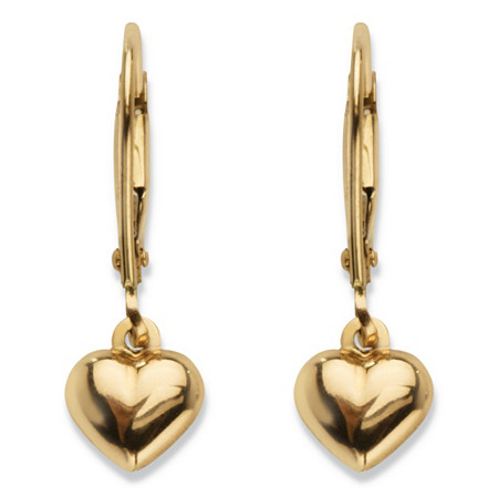 "Polished Puffy Heart Drop Earrings in Hollow 14k Yellow Gold .75"" at PalmBeach Jewelry"