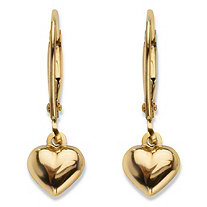 Polished Puffy Heart Drop Earrings in Hollow 14k Yellow Gold .75""