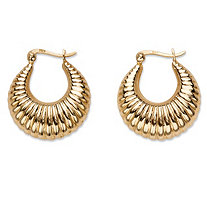 Shrimp-Style Puffy Hoop Earrings in 18k Gold over Sterling Silver 1""
