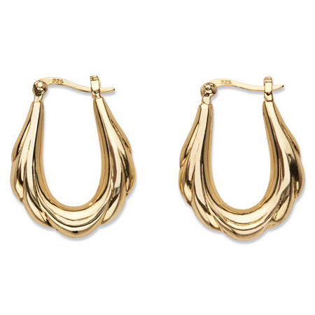 "Oval Scalloped Puffy Hoop Earrings in 18k Gold over Sterling Silver 1"" at PalmBeach Jewelry"