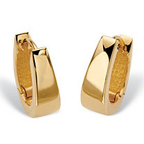 Polished Huggie-Hoop Earrings in 18k Gold over Sterling Silver 5/8""