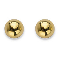 Round Polished Hollow 14k Gold Nano Diamond Resin Filled Button Stud Earrings 7 mm
