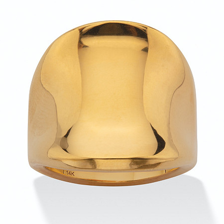 Polished 14k Yellow Gold Nano Diamond Resin Filled Concave Freeform Ring at PalmBeach Jewelry