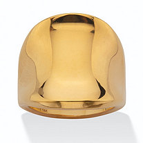 Polished 14k Yellow Gold Nano Diamond Resin Filled Concave Freeform Ring