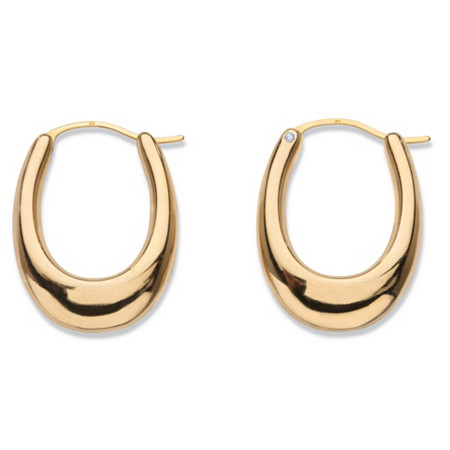 "Polished 14k Yellow Gold Nano Diamond Resin Filled Oval Puffy Hoop Earrings .75"" at PalmBeach Jewelry"