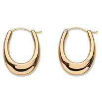 Polished 14k Yellow Gold Nano Diamond Resin Filled Oval Puffy Hoop Earrings .75""