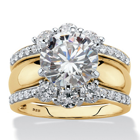 Round Cubic Zirconia 2-Piece Multi-Row Jacket Wedding Ring Set 4.66 TCW in 18k Gold over Sterling Silver at PalmBeach Jewelry