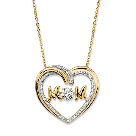 "Round CZ in Motion Cubic Zirconia ""MOM"" Open Heart Pendant Necklace .79 TCW in 14k Gold over Sterling Silver 18"" at PalmBeach Jewelry"