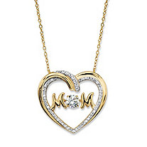 "Round CZ in Motion Cubic Zirconia ""MOM"" Open Heart Pendant Necklace .79 TCW in 14k Gold over Sterling Silver 18"""