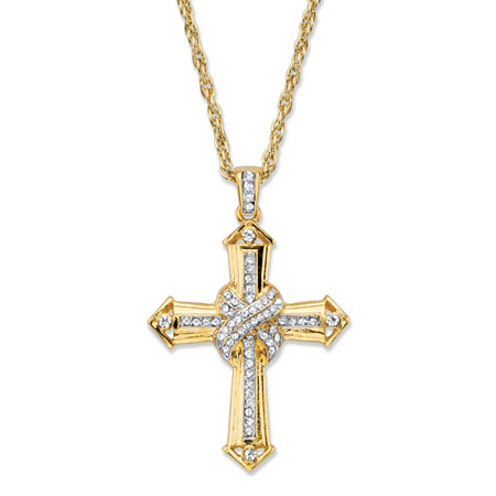"Men's Round Crystal-Wrapped Cross Pendant Necklace with Rope Chain in Gold Tone 24"" at PalmBeach Jewelry"