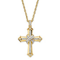 Men's Round Crystal-Wrapped Cross Pendant Necklace with Rope Chain in Gold Tone 24""