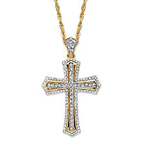 Men's Round Crystal Cross Pendant Necklace with Rope Chain in Gold Tone 24""