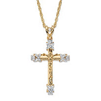 Men's Round Crystal-Wrapped Crucifix Cross Pendant Necklace with Rope Chain in Gold Tone 24""