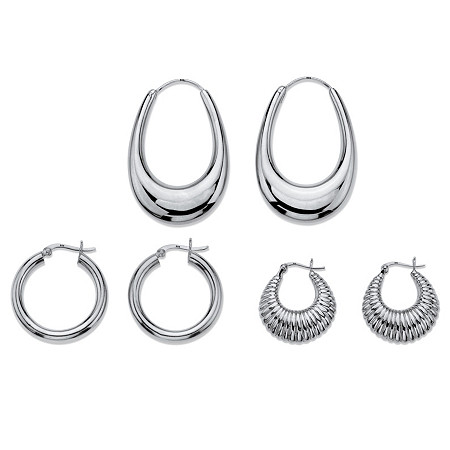 "Polished and Shrimp-Style 3-Pair Set of Hoop Earrings in Sterling Silver 1"" at PalmBeach Jewelry"