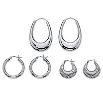 Polished and Shrimp-Style 3-Pair Set of Hoop Earrings in Sterling Silver 1""