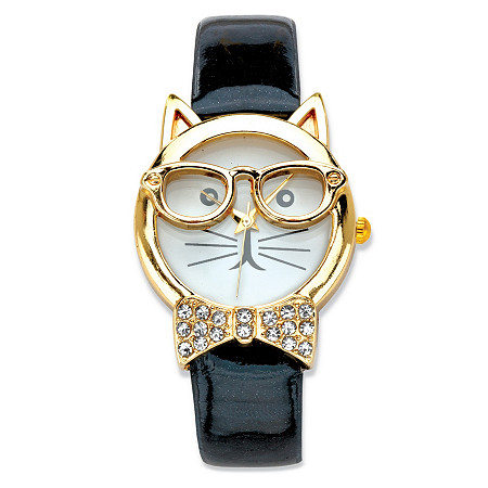"Crystal Accent Bowtie Cat Watch With White Face and Adjustable Black Strap in Gold Tone 8"" at PalmBeach Jewelry"