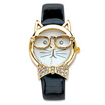 Vernier Crystal Accent Bowtie Cat Watch With White Face and Adjustable Black Strap in Gold Tone 8""