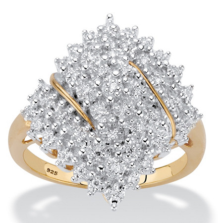Round Diamond Cluster Ring 1/4 TCW in 18k Gold over Sterling Silver at PalmBeach Jewelry