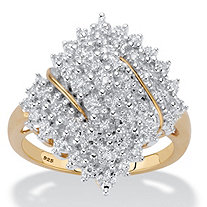 Round Diamond Cluster Ring 1/4 TCW in 18k Gold over Sterling Silver