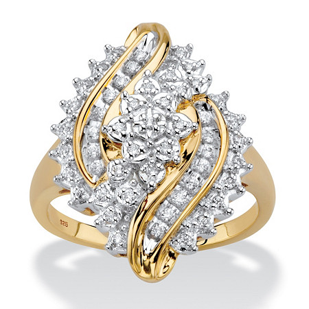 Round Diamond Cluster Bypass Ring 1/3 TCW in 18k Gold over Sterling Silver at PalmBeach Jewelry