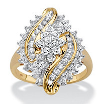 Round Diamond Cluster Bypass Ring 1/3 TCW in 18k Gold over Sterling Silver