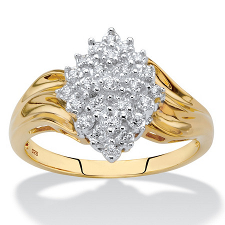 Round Diamond Cluster Ring 1/10 TCW in 18k Gold over Sterling Silver at PalmBeach Jewelry