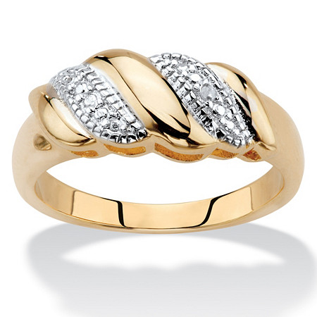 Diamond Accent Diagonal Banded S-Link Ring 14k Gold-Plated at PalmBeach Jewelry