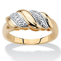 Diamond Accent Diagonal Banded S-Link Ring 14k Gold-Plated