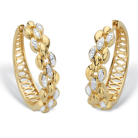 "Diamond Accent Two-Tone Marquise Diagonal Cluster Huggie-Hoop Earrings 14k Gold-Plated 1"" at PalmBeach Jewelry"