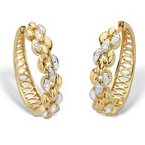 Diamond Accent Two-Tone Marquise Diagonal Cluster Huggie-Hoop Earrings 14k Gold-Plated 1
