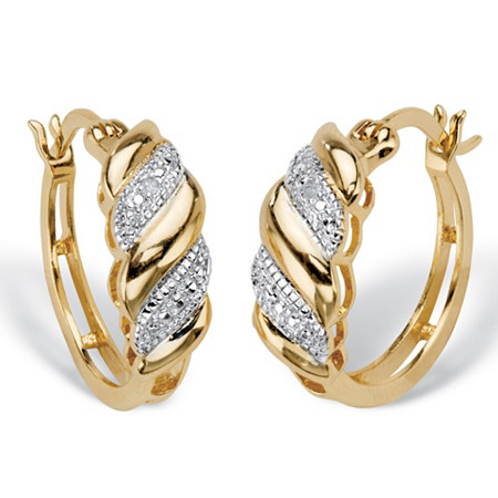 "Diamond Accent Diagonal Banded S-Link Hoop Earrings 14k Gold-Plated 3/4"" at PalmBeach Jewelry"