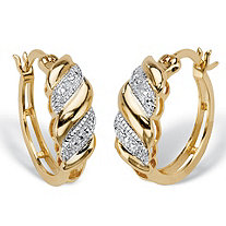 Diamond Accent Diagonal Banded S-Link Hoop Earrings 14k Gold-Plated 3/4""