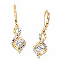 Diamond Accent Cluster Bypass Drop Earrings 14k Gold-Plated 1.5""