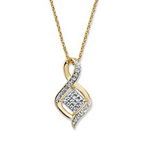 Diamond Accent Cluster Bypass Pendant Necklace 14k Gold-Plated 18