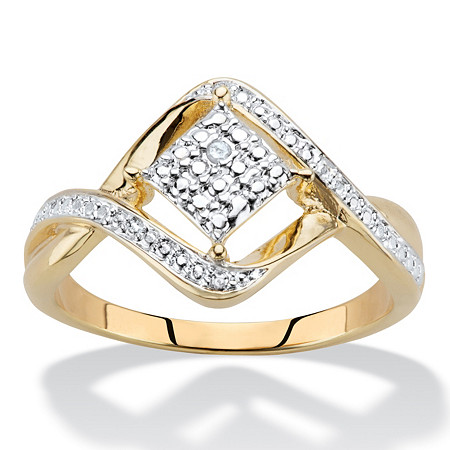 Diamond Accent Cluster Bypass Ring 14k Gold-Plated at PalmBeach Jewelry